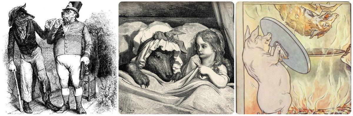 Ilustracja do bajki Pies i wilk/Ilustracja Gustawa Doré do Czerwonego Kapturka/Wilk lądujący w kotle (ilustracja do baśni Trzy świnki braci Grimm – L. Leslie Brooke)