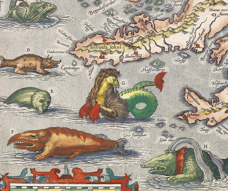 stara mapa, potwory morskie, wyspy
