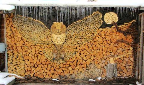 sztuka, sowa, drewno, stosy